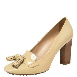 Tod's Beige Patent Leather Tassel Loafer Pumps Size 36.5