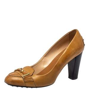 Tod's Tan Leather Loafer Pumps Size 37.5