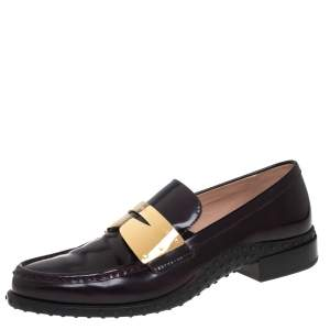 Tod's Purple Patent Leather Metal Penny Loafers Size 41
