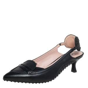 Tod's x Alessandro Black Leather  Dell'Acqua Slingback Pumps Size 37.5