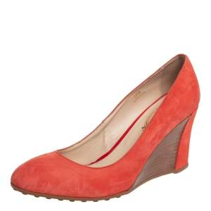 Tod's Orange Suede Wedge Pumps Size 38.5