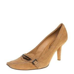 Tod's Beige Suede Pointed Toe Penny Loafer Pumps Size 39.5