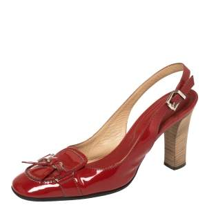 Tod's Red Patent Leather Slingback Sandals Size 39