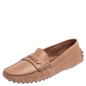 حذاء لوفرز سليب أون تودز جلد بيج داكن مقاس 38.5