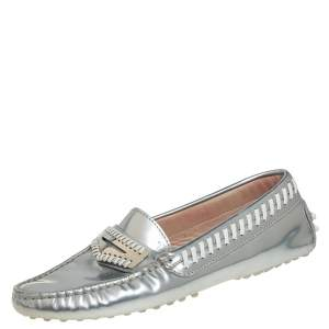 Tod's Metallic Silver Leather Whipstitch Detail Penny Slip On Loafers Size 35