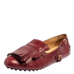 حذاء لوفرز تودز شراشيب جلد عنابي مقاس 37.5