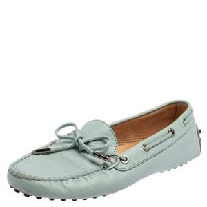 Tod's Blue Leather Gommino Slip On Loafers Size 38.5