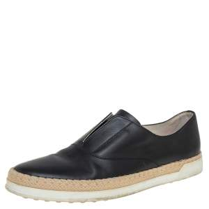 Tod's Black Leather Francesina Slip On Espadrille Sneakers Size 38.5