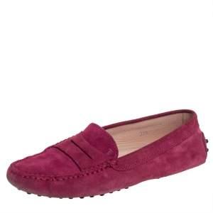 حذاء لوفرز تودز غومينو سويدي أحمر مقاس 37.5