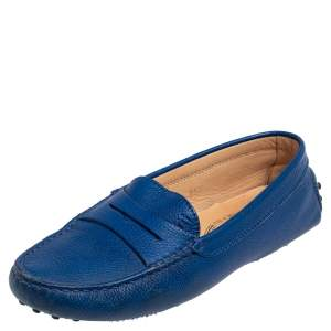 حذاء لوفرز تودز درايفينغ غومينو جلد أزرق مقاس 35.5