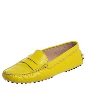 حذاء لوفرز تودز سليب أون غومينو جلد نقش سحلية أصفر مقاس 36