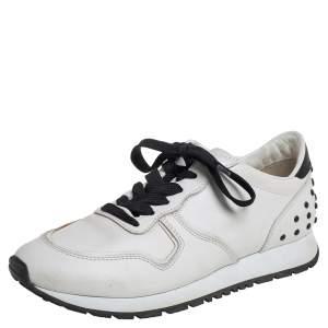 حذاء رياضي تودز منخفض من أعلى جلد أبيض/ أسود مقاس 37.5