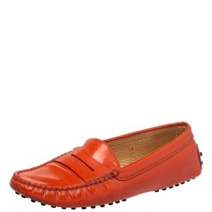 Tod's  Orange Patent Leather Gommino Penny Loafers Size 38