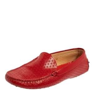 حذاء لوفرز تودز غومينو درايفينغ جلد لامع قصة ليزر أحمر مقاس 38