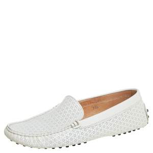 Tod's White Lasercut Patent Leather Gommino Driving Loafers Size 38.5