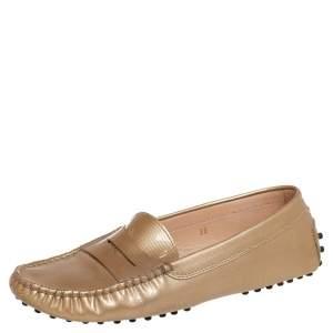 حذاء لوفرز سليب أون تودز غومينو جلد ذهبي ميتالك مقاس 38