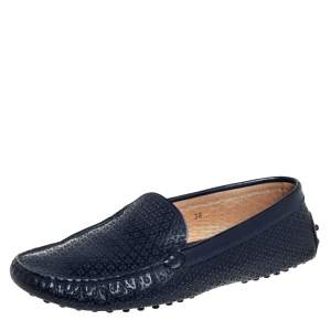 Tod's Navy Blue Lasercut Patent Leather Gommino Driving Loafers Size 38
