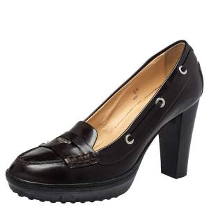 Tod's Brown Leather Penny Loafer Pumps Size 38