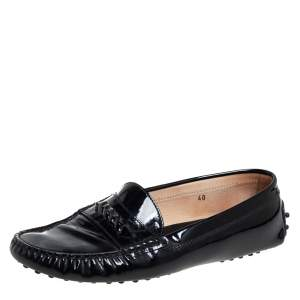 Tod's Black Patent Leather Slip On Loafers Size 40