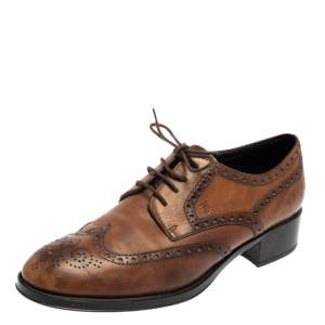 Tod's Brown Leather Brogue Wingtip Derby Size 38.5