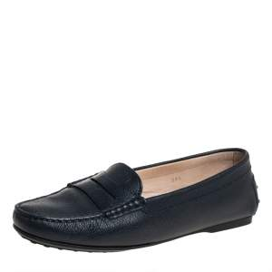 Tod's Dark Blue Leather Penny Slip On Loafers Size 39.5