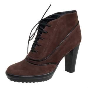 Tod's Brown/Black Suede Block Heel Booties Size 38.5