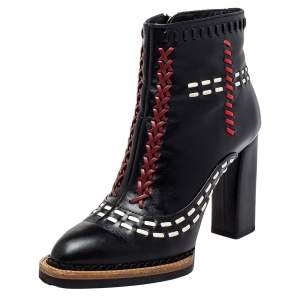 Tod's Black Leather Cross-Stitch Gipsy Ankle Boots Size 36