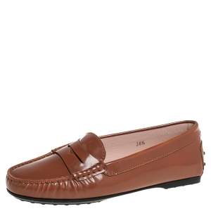 حذاء لوفرز تودز غوما جلد لامع بني مقاس 36.5