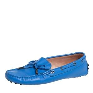 Tod's Blue Leather Bow Slip On Loafers Size 37