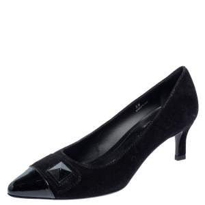 Tod's Black Suede And Patent Leather Embellished Cap Toe Pumps Size 38