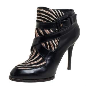 Tod's Black Leather And Calf Hair Zebra Print Ankle Boots 37