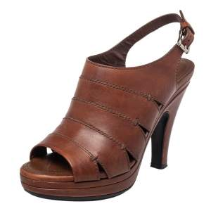 Tod's Brown Leather Peep Toe Slingback Sandals Size 37.5