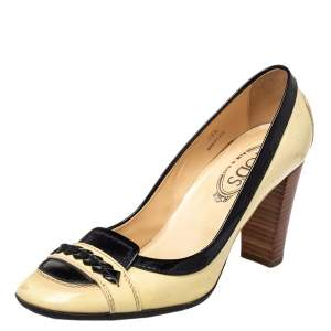 Tods Cream/Black Patent Leather Loafer Pumps Size 38.5
