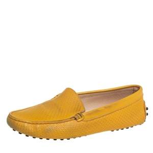 Tod's Yellow Perforated Leather Slip On Loafers Size 36.5