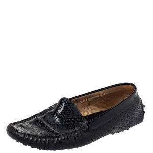 Tod's Black Patent Leather Slip on Loafers Size 38