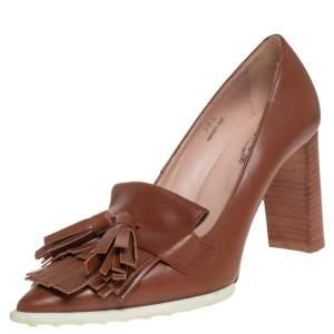 Tod's Brown Leather Fringe and Tassel Platform Loafer Pumps Size 36.5