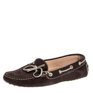 حذاء لوفرز تودز سليب أون جلد بني بفيونكة مقاس 38