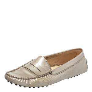 Tod's Grey Patent Leather Slip On Loafers Size 37