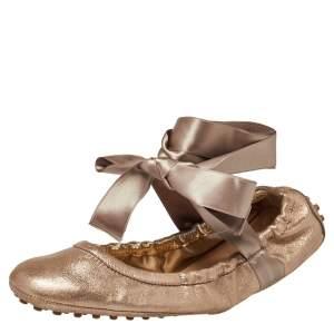 Tod's Metallic Bronze Nubuck Leather Scrunch Ribbon Ballet Flats Size 39.5