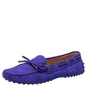Tod's Purple Suede Gommino Bow Loafers Size 37.5