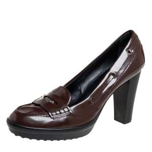 Tod's Brown Patent Leather Loafer Pumps Size 41
