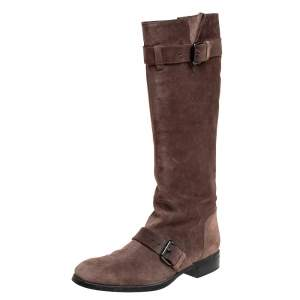 Tod's Brown Suede Knee High Buckle Boots Size 40