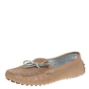 Tod's Beige Perforated Leather Bow Loafers Size 37