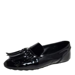 Tod's Black Patent Leather Fringe  Loafers Size 35.5