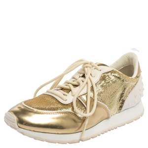 Tod's Gold /White Patent Leather And Sequin Low Top Sneakers Size 39