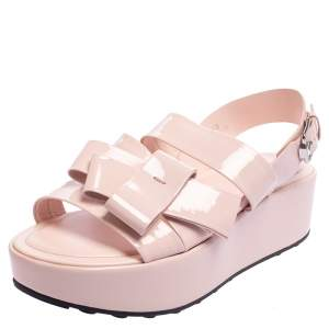 Tod's Beige Patent Leather Bow Wedge Platform Slingback Sandals Size 40