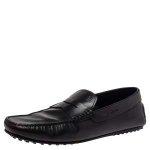 Tod's Black Leather Slip On Penny Loafers Size 45