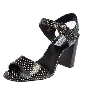 Tod's Black/White Python Embossed Leather Ankle Strap Sandals Size 38