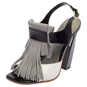 Tod's Tricolor Nubuck Leather And Leather Fringe Detail Slingback Sandals Size 38