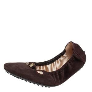 Tod's Brown Suede Scrunch Bow Ballet Flats Size 36.5